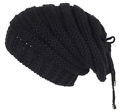 839a9b59fb780 Lilax Cable Knit Slouchy Chunky Stripe Oversized Warm Winter Beanie Hat  Black