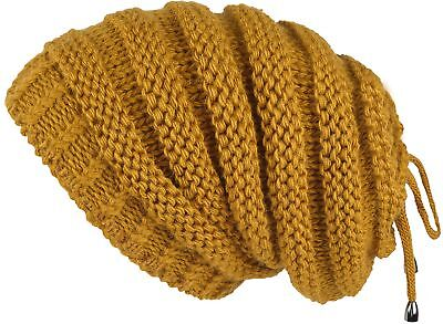 Lilax Cable Knit Slouchy Chunky Stripe Oversized Warm Winter Beanie Hat Mustard