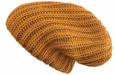 Lilax Cable Knit Slouchy Chunky Oversized Warm Winter Solid Beanie Hat Mustard