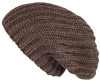 Lilax Cable Knit Slouchy Chunky Oversized Warm Winter Solid Beanie Hat Brown