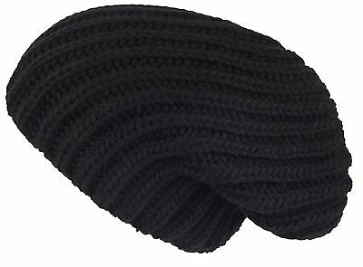 Lilax Cable Knit Slouchy Chunky Oversized Warm Winter Solid Beanie Hat Black