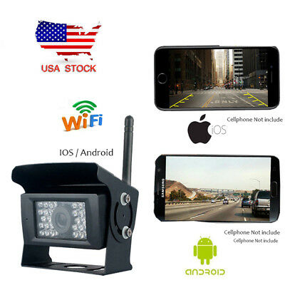 WiFi Wireless Waterproof Rear View Backup Camera 28IR LED For iPhone IOS Android