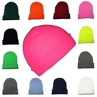 KIDS Beanie Hat Boys Girls Slouch Winter Woolly Ski Childrens Turn Up Neon Warm