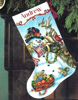 Dimensions Counted Cross Stitch Kit Christmas Animals Snowmen Gathering Stocking