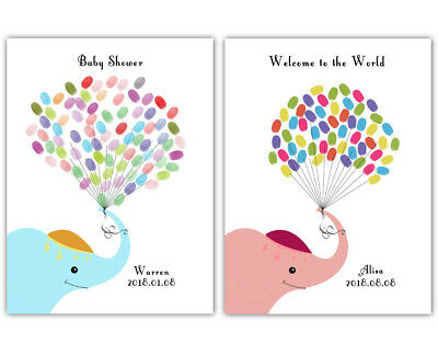 Thumbprint Elephant Guest Book Baby Shower Birthday Canvas Painting+inkpad