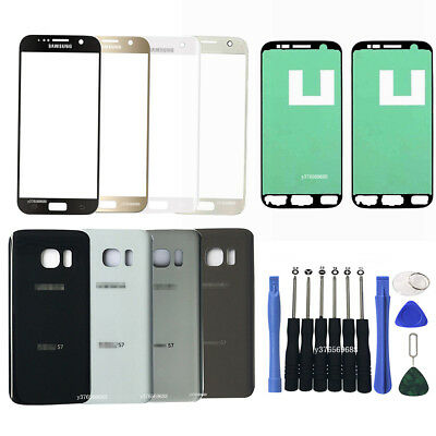 OEM Front Screen Lens Glass Back Battery Cover Door For Samsung Galaxy S7 G930
