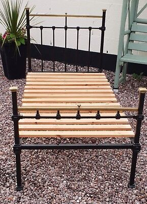 Single Edwardian Bedstead Brass And Iron Complete With Runners And Slats.