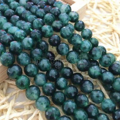 10mm Natural Faceted Green Emerald Round Gemstone Loose Beads 15'' AAA