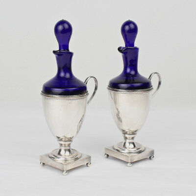 Pair Israel Freeman Silver Plate & Cobalt Blue Glass Oil & Vinegar Cruets - SL