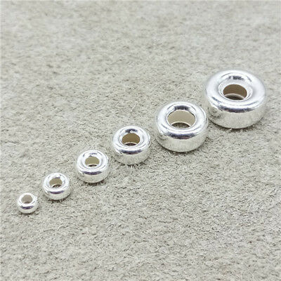 925 Sterling Silver Donut Tire Beads 3mm 4mm 5mm 6mm 8mm 10mm for Bracelet
