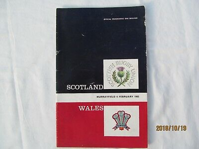 Scotland v Wales. Rugby Union 1965  Programme 5 Nations