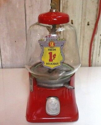 Vintage SILVER KING Red 1 Cent GUM Ball TOY Candy Machine Dispenser W/ KEY!