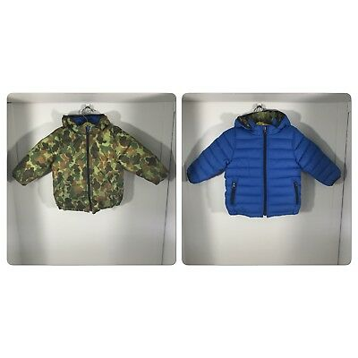993b403d5074d Baby Gap Toddler Boys Reversible Green Camo & Blue Hooded Puffer Jacket  Size 2