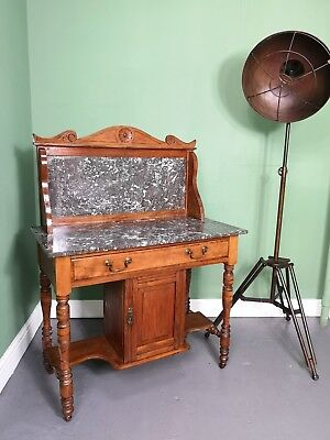 An Antique Victorian Walnut Marble Washstand Table ~Delivery Available~