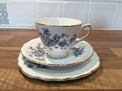 Vintage Royal Vale English bone china tea cup trio set blue floral design