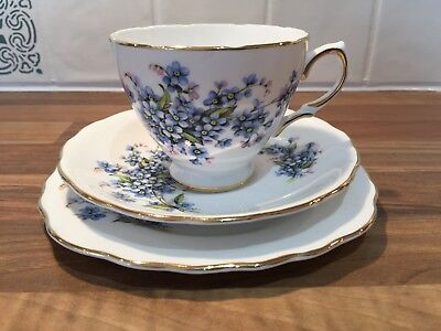 Vintage Royal Vale English bone china tea cup trio blue floral design