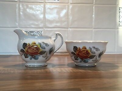 Vintage Royal Vale English bone china milk jug and sugar bowl orange flowers