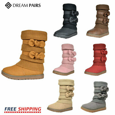 Dream Pairs Toddler Little Girl  Klove Faux Fur Lined Mid Calf Winter Snow Boots