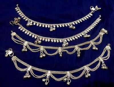 women lot 4 paisley silver chain bells Anklet Ankle Bracelet India foot jewelry