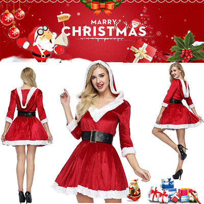 Mrs Santa Claus Christmas Fancy Dress Xmas Ladies Womens Adults Costume Outfit