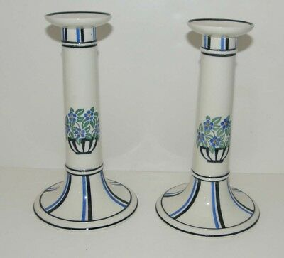 Rare Two matching Antique Wedgwood Goupy Art Deco 1917 Pair Candlestick