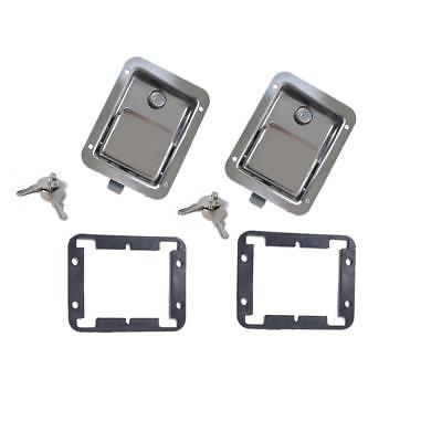 1pc/2pcs Stainless Steel Paddle Latch w/ 2 Keys Trailer Truck Tool Box Door Lock