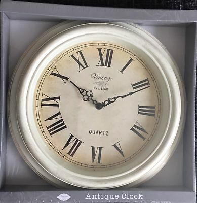 New Antique Style Wall Clock Shabby Chic In White Or Brass Colour Vintage 32Cm