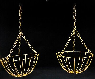 Antique Vintage Wire Baskets Hanging Yellow Primitive