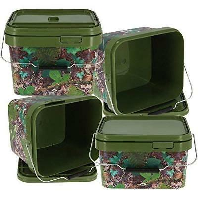 2pc NGT Camo Square Carp Coarse Bait Bucket Set 2 x 10 Litres with Lid & Handle
