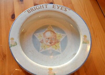 "Vintage Elpco China Baby Bowl Dish - ""Bright Eyes"""