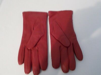 Ladies Aris Red Leather Dress Gloves, Size 7.5. Never worn