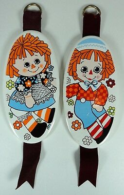Vintage Enesco Raggedy Ann and Andy Wall Plaques - Japan