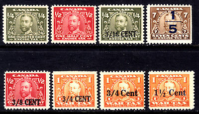 Canada Revenue #fx1-2,21-23,30-32, 1915-23 Kgv Excise Tax Lot/8, F, Og-Nh
