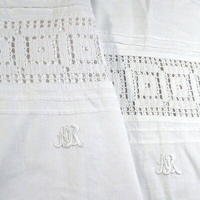 "Pair of Antique French Pillowcase Cases Shams,  Monogrammed ""A.R."", Crochet Lace"