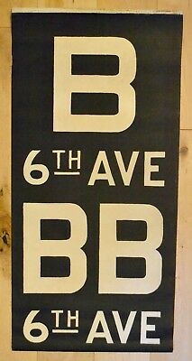 1960s New York Subway Sign Vellum Route Sign B BB 6th AVE Typeface Font Art