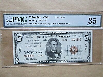 National Currency Columbus, Ohio 1929 $5 PMG Choice Very Fine 35