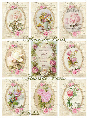 Vintage Shabby Chic French Roses Fabric Block Quilt Pillow Stocking Set FB 222