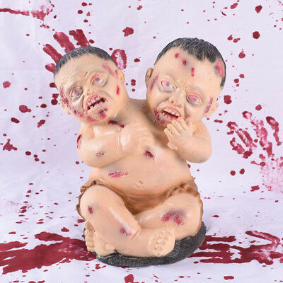 MagiDeal Horror Double Head Baby Halloween Haunted House Decor Novelty Gift