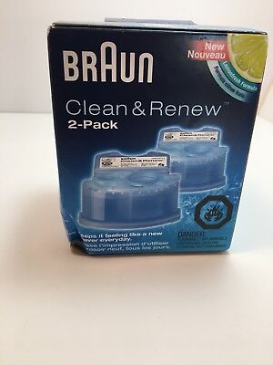 BRAUN SHAVER SERIES CLEAN & RENEW CARTRIDGES LEMON FRESH SEALED pack of 2