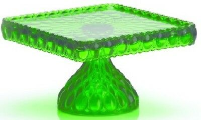 Cake Plate Pastry Tray Bakers Stand - Elizabeth - Mosser USA Hunter Green Glass
