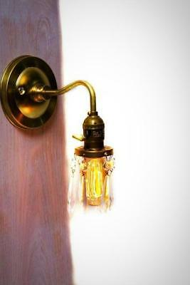 Brass Arm Open Crystal Shade Bare Bulb Vintage Style Paddle Key Sconce