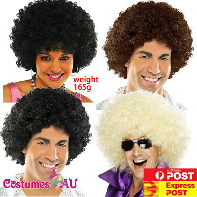 Mens Ladies Black Brown Blonde Funky Afro Wig 1970s 70s Disco Party Costume Wigs