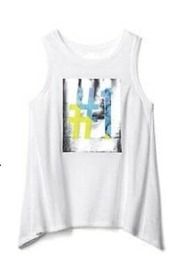 New GAPFIT Kids Girls XS White Graphic Sports Tank Dry Wicking Poly Blend