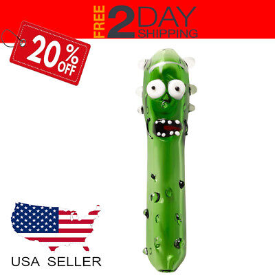 5' Pickle Rick Collectible Swirl TOBACCO Smoking Pipe Herb bowl Glass Hand Pipes
