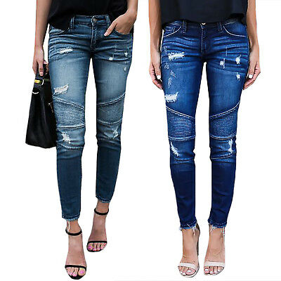 Womens Ripped Stretchy Skinny Jeans Trousers Retro Ladies Pleat Denim Jeggings