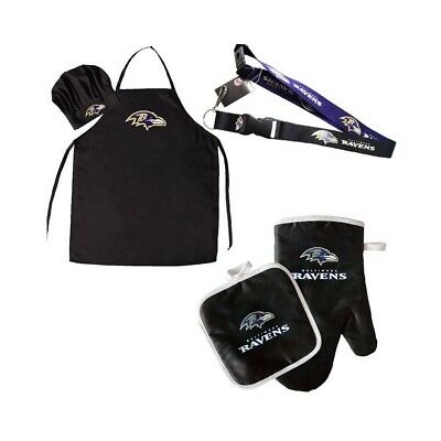 6bf513629 Baltimore Ravens NFL BBQ Cooking Gift Set 5pc Grilling Chefs Hat Apron Oven  Mitt