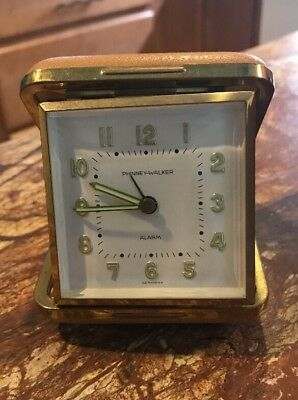 Vintage Phinney Walker Folding Travel Alarm Clock Made In Germany
