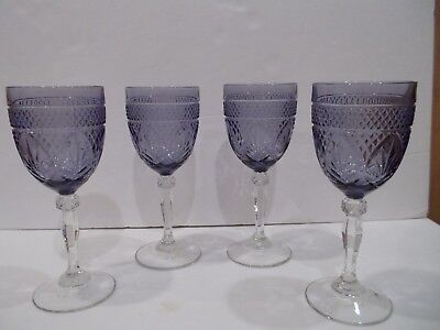 Cristal D'Arques Durand Set of 4 Purple Amethyst Water/Wine Goblets