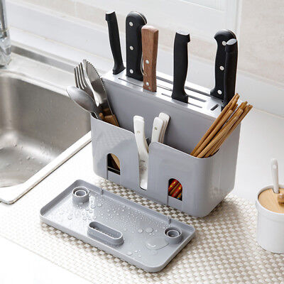 Kitchen Knife Blocks Holder Spoon Forks In-Drawer Knife Organizer Storage Rack