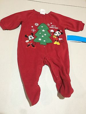 NWT Disney Store Mickey and Minnie Mouse My First Christmas Sleeper Baby Holiday